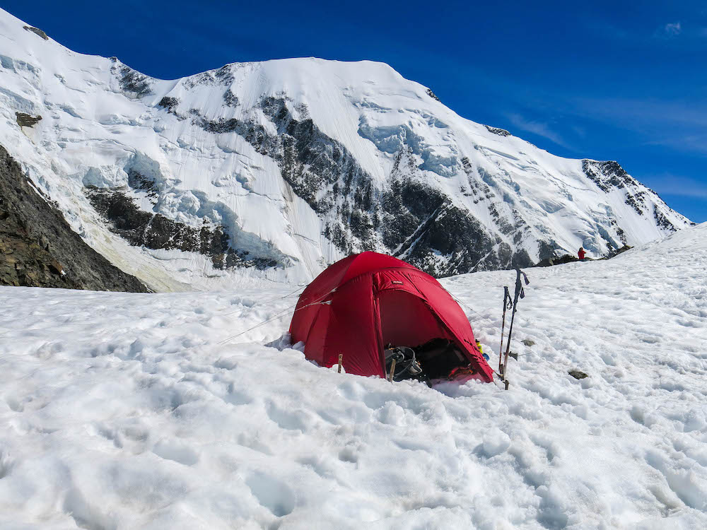 Our pitch on the Tête Rousse Glacier - not a bad view!